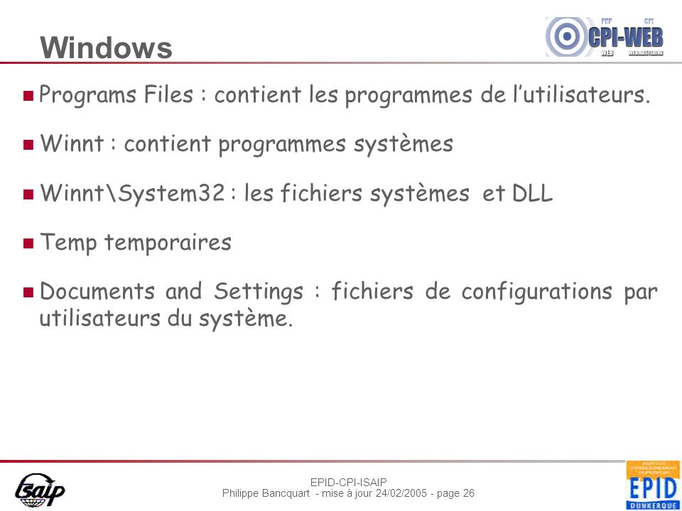 Windows Programs Files : contient les programmes de l'utilisateurs.