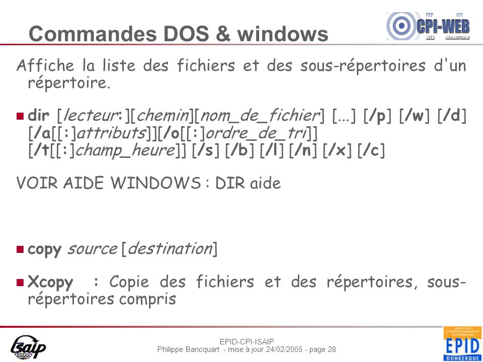 Commandes DOS & windows
