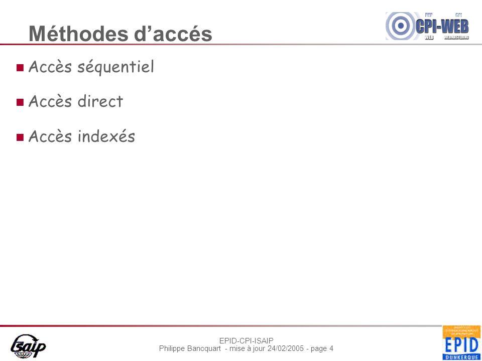 Méthodes d'accés Accès séquentiel Accès direct Accès indexés