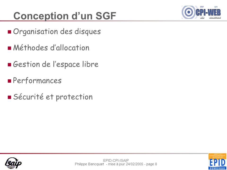 Conception d'un SGF Organisation des disques Méthodes d'allocation