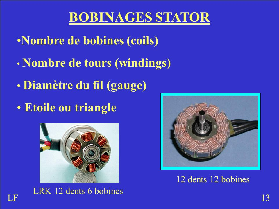 BOBINAGES STATOR Nombre de bobines (coils) Etoile ou triangle
