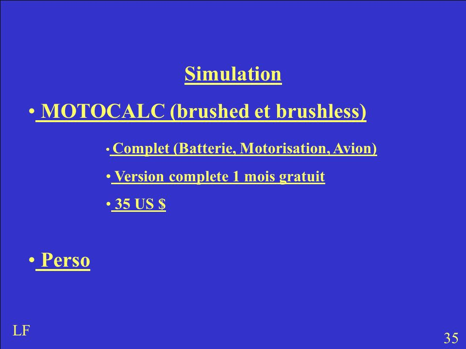 MOTOCALC (brushed et brushless)
