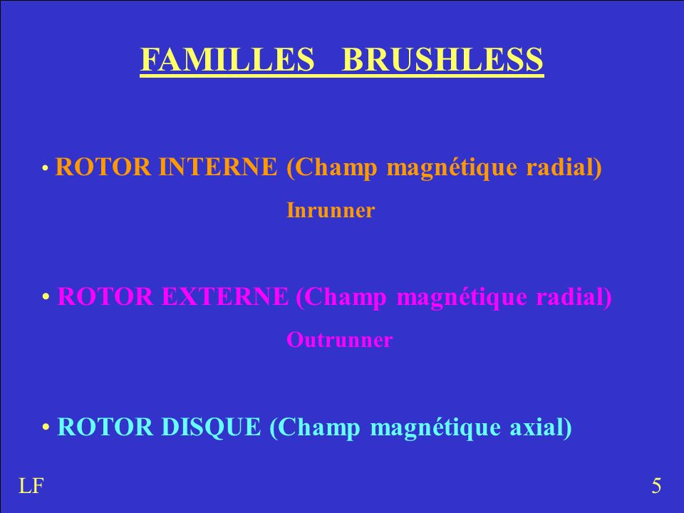FAMILLES BRUSHLESS ROTOR EXTERNE (Champ magnétique radial)