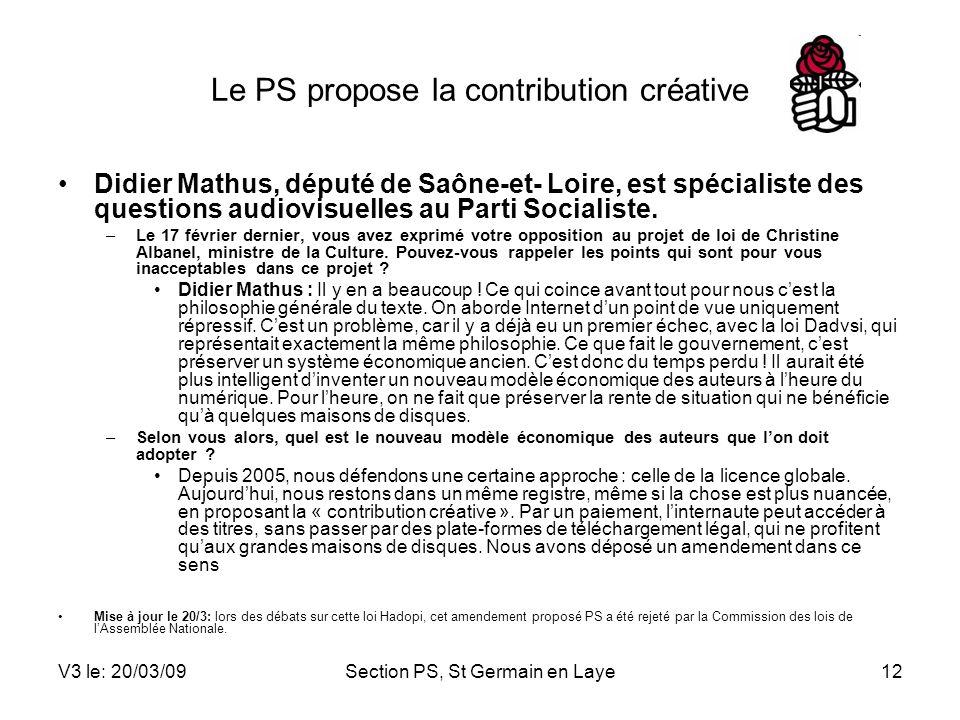 Le PS propose la contribution créative