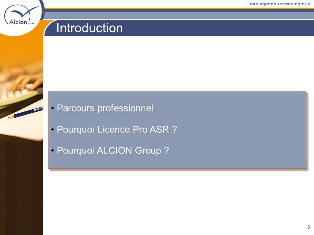 Introduction Parcours professionnel Pourquoi Licence Pro ASR