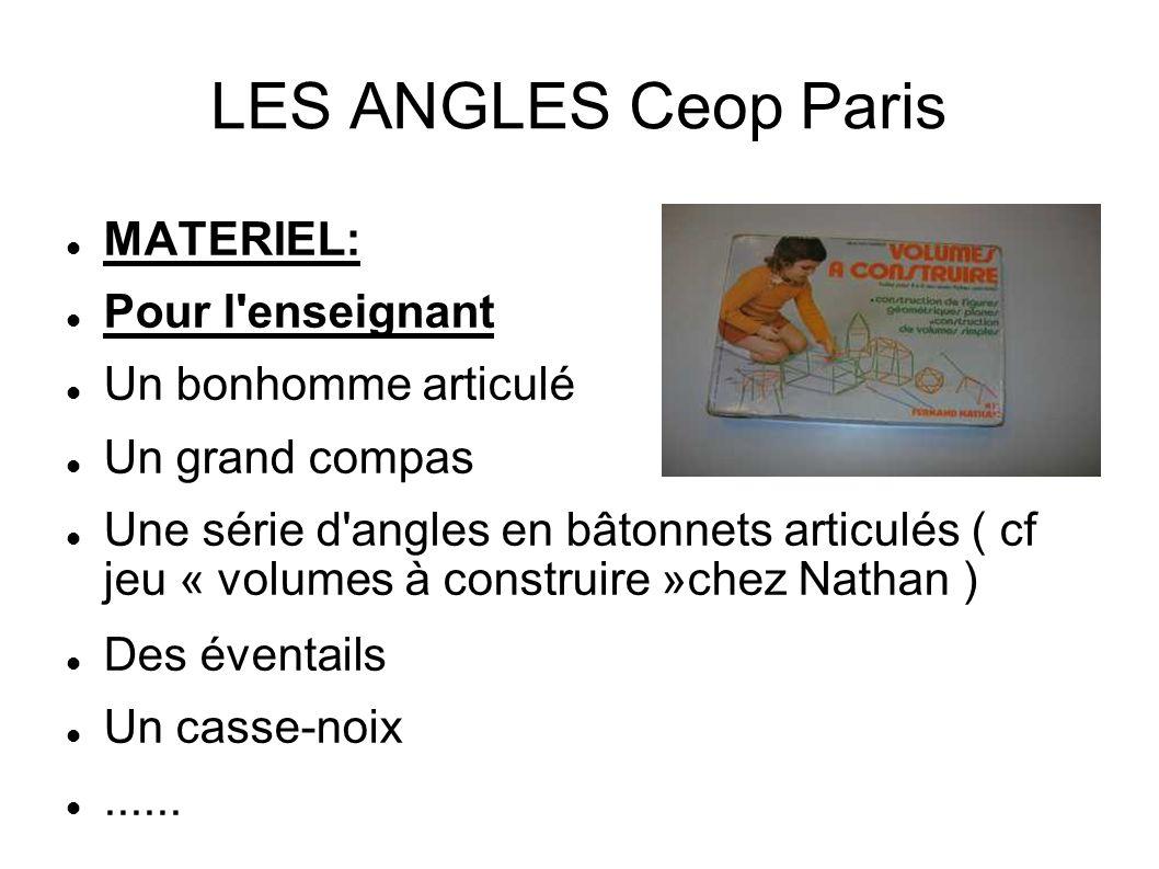 LES ANGLES Ceop Paris MATERIEL: Pour l enseignant Un bonhomme articulé