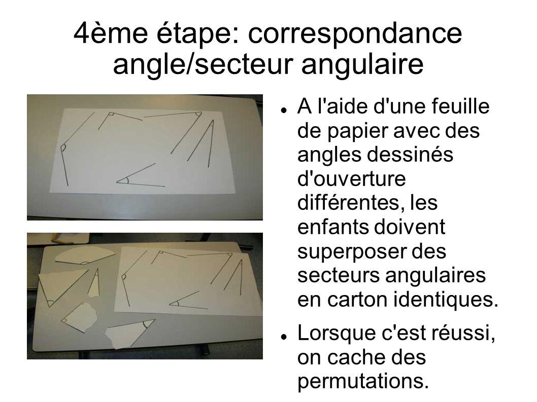 4ème étape: correspondance angle/secteur angulaire