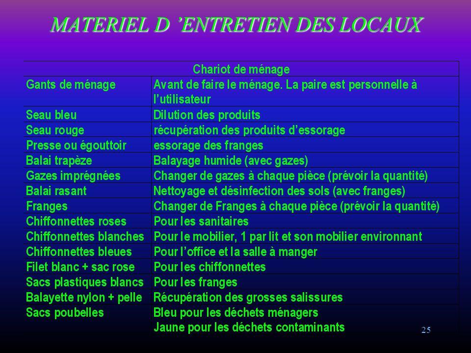 MATERIEL D 'ENTRETIEN DES LOCAUX