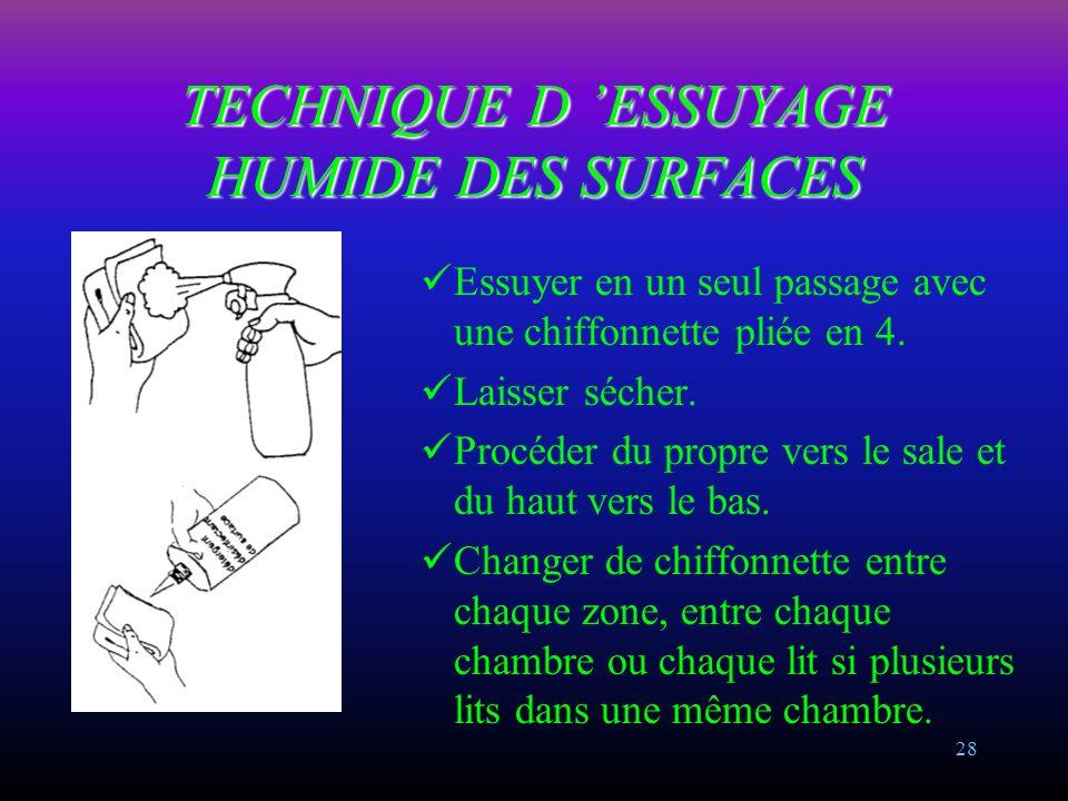 TECHNIQUE D 'ESSUYAGE HUMIDE DES SURFACES