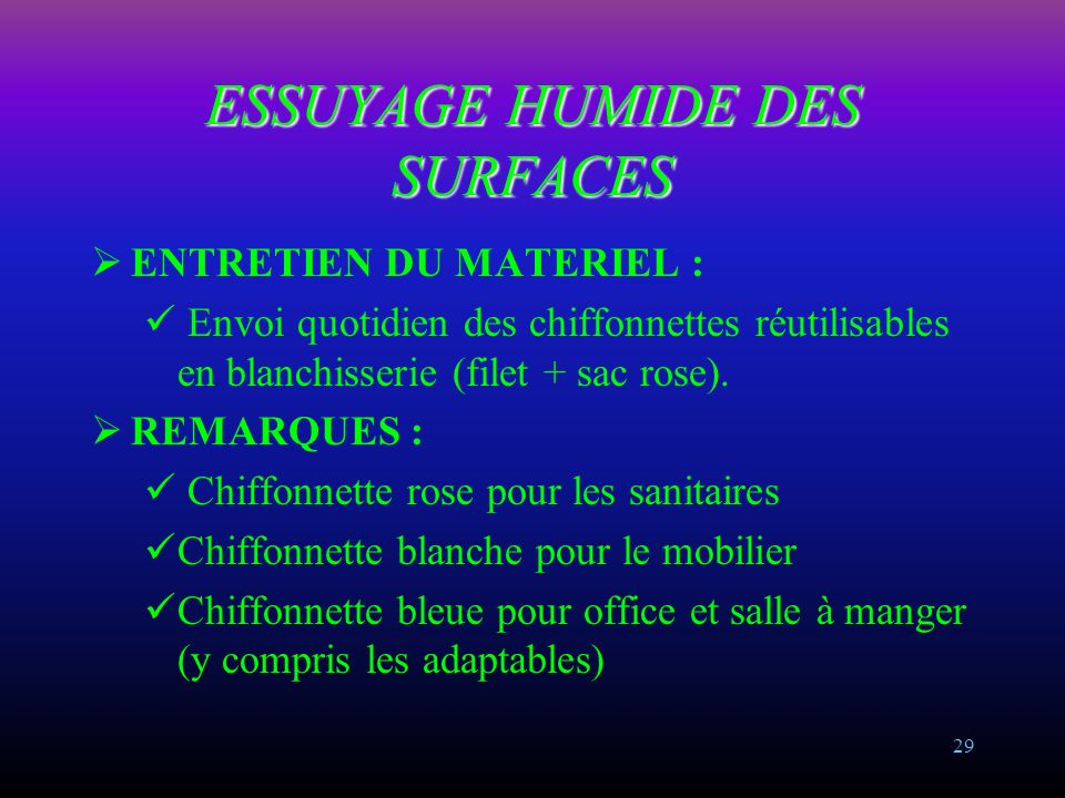 ESSUYAGE HUMIDE DES SURFACES