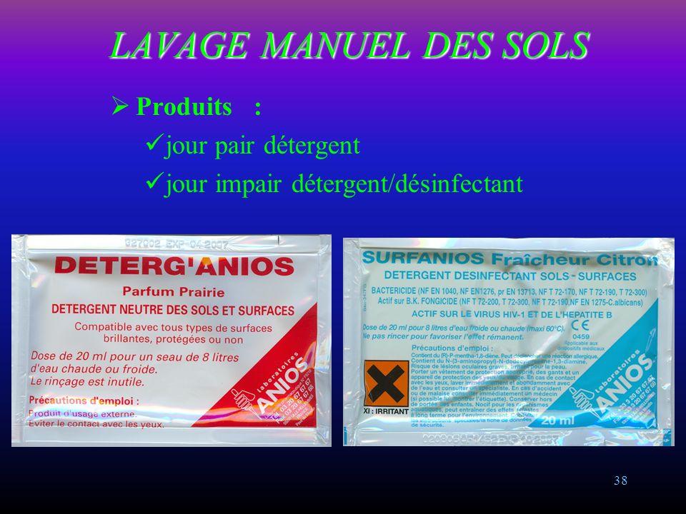 LAVAGE MANUEL DES SOLS Produits : jour pair détergent