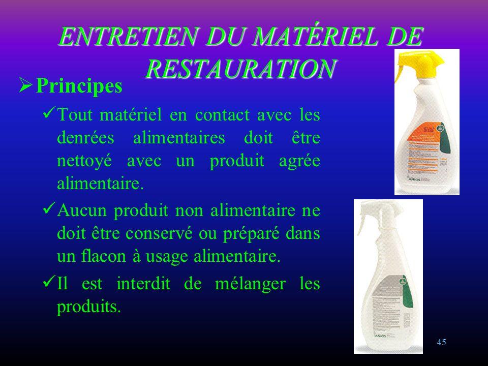 ENTRETIEN DU MATÉRIEL DE RESTAURATION