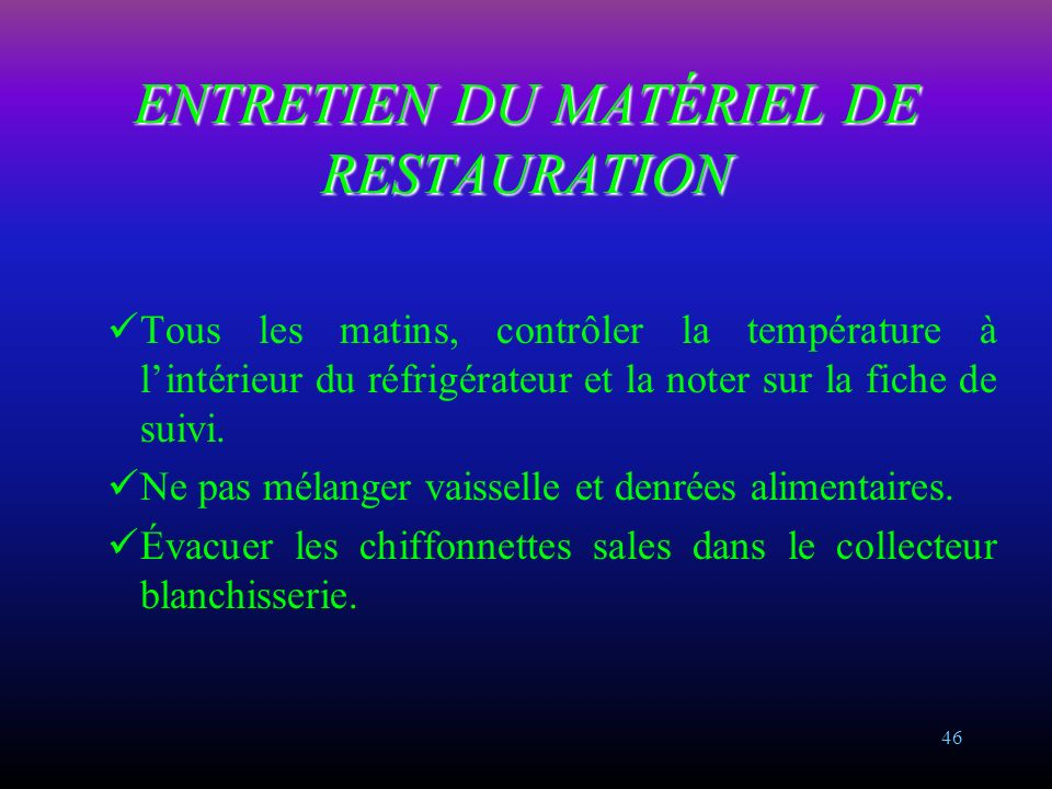 Le bionettoyage ppt video online t l charger for Equipement restauration usage