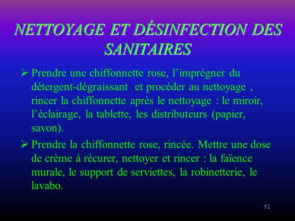 NETTOYAGE ET DÉSINFECTION DES SANITAIRES