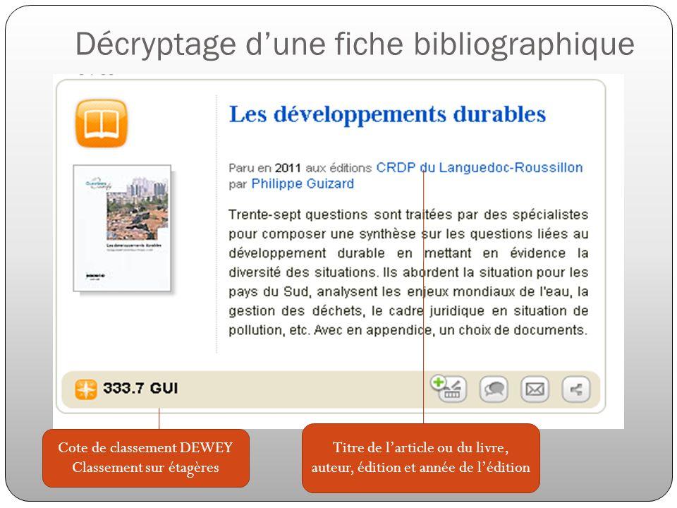 Décryptage d'une fiche bibliographique