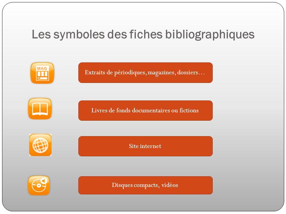 Les symboles des fiches bibliographiques