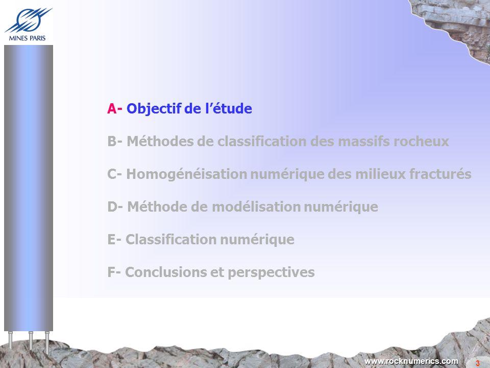 A- Objectif de l'étude B- Méthodes de classification des massifs rocheux. C- Homogénéisation numérique des milieux fracturés.