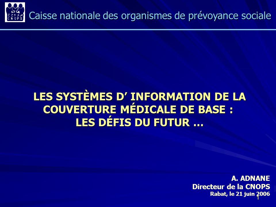 LES SYSTÈMES D' INFORMATION DE LA COUVERTURE MÉDICALE DE BASE :
