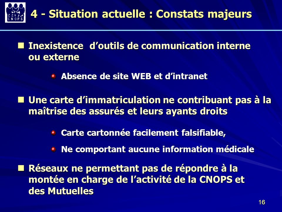 4 - Situation actuelle : Constats majeurs