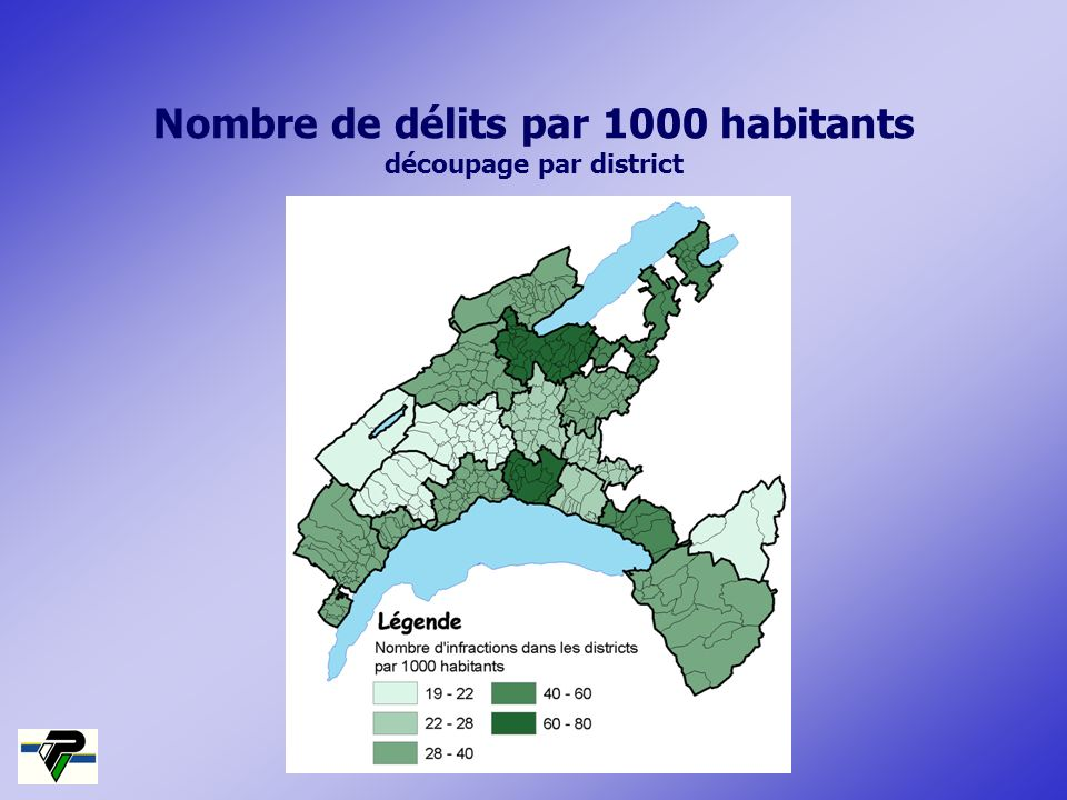 Nombre de délits par 1000 habitants découpage par district