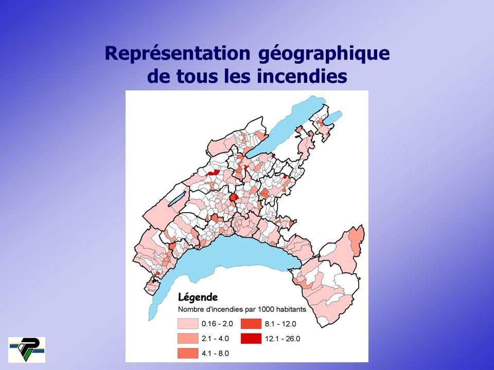 Représentation géographique de tous les incendies