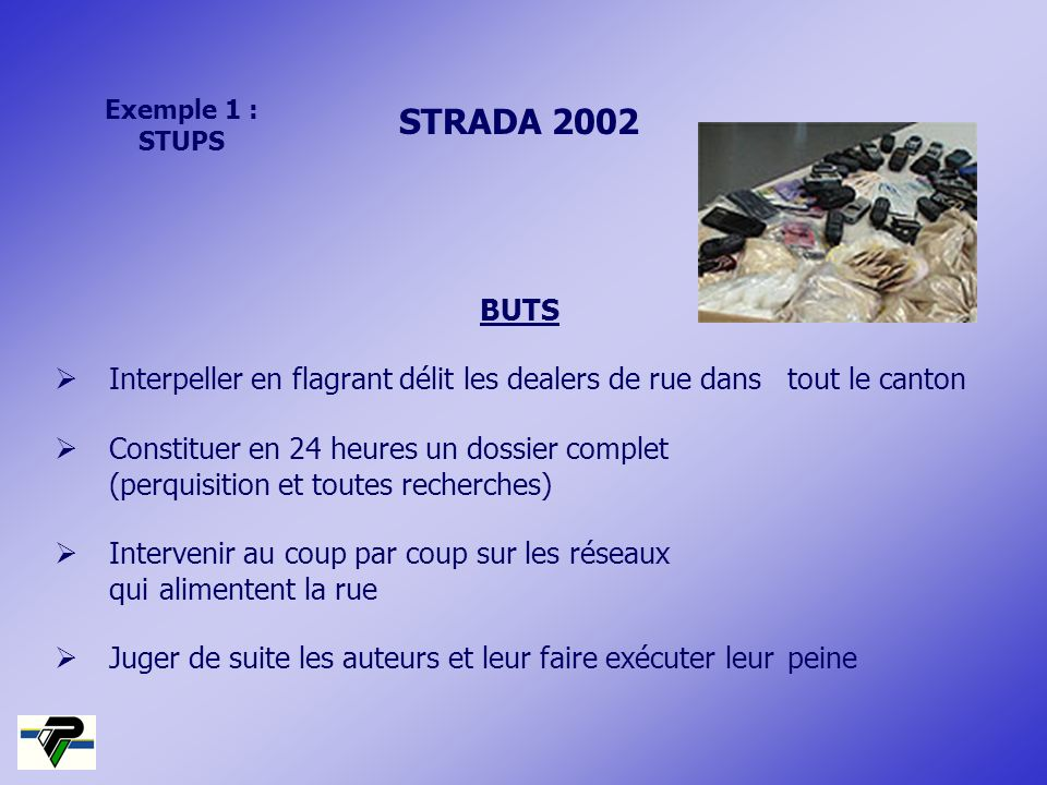 Exemple 1 :STUPS. STRADA 2002. BUTS.  Interpeller en flagrant délit les dealers de rue dans tout le canton.