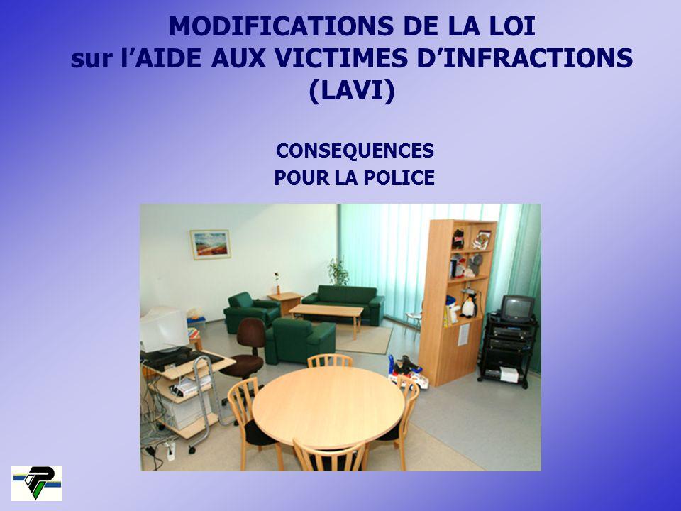 MODIFICATIONS DE LA LOI sur l'AIDE AUX VICTIMES D'INFRACTIONS (LAVI)