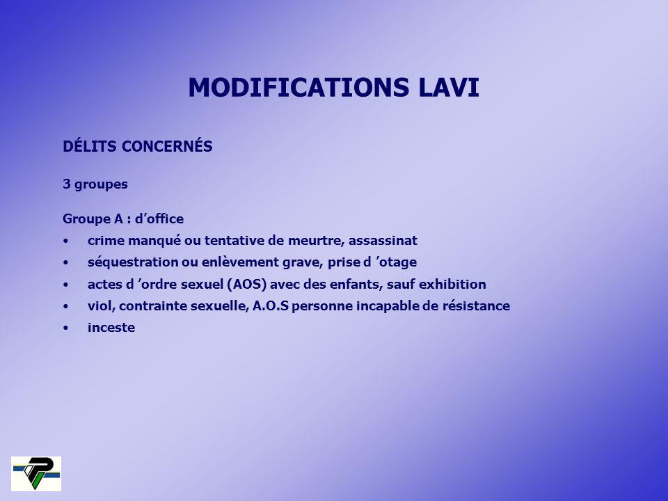 MODIFICATIONS LAVI DÉLITS CONCERNÉS 3 groupes Groupe A : d'office
