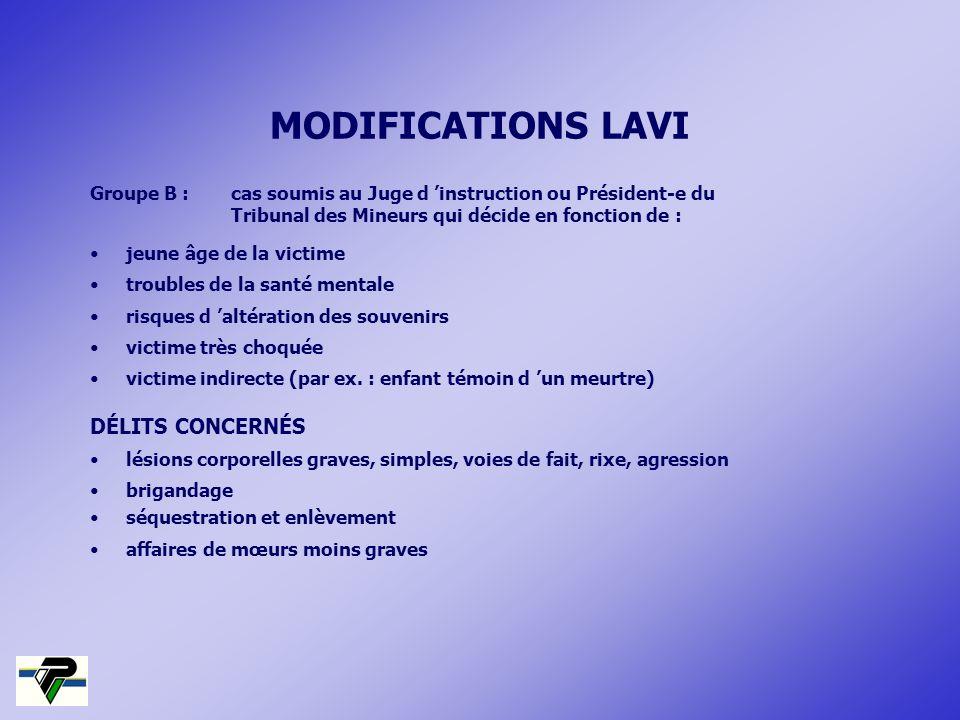 MODIFICATIONS LAVI DÉLITS CONCERNÉS
