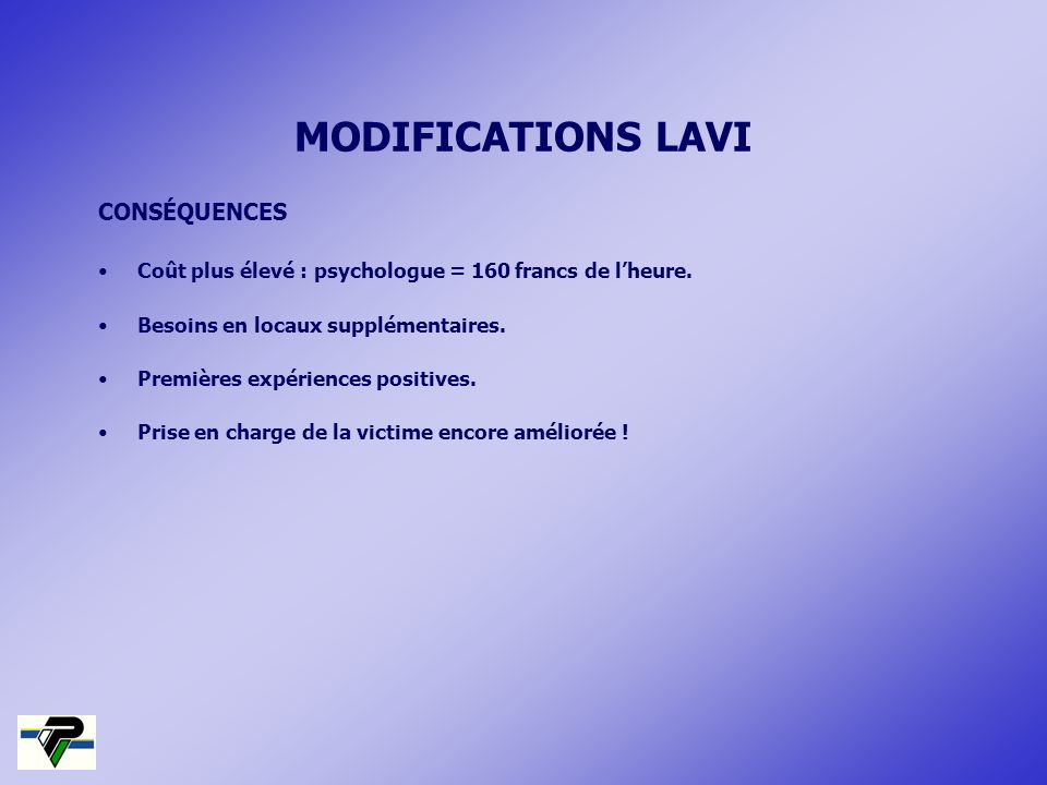 MODIFICATIONS LAVI CONSÉQUENCES