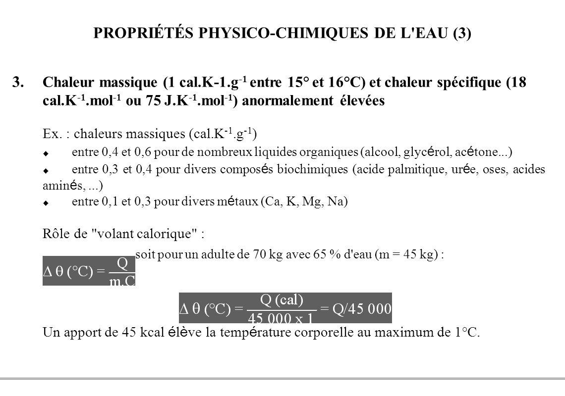 PROPRIÉTÉS PHYSICO-CHIMIQUES DE L EAU (3)