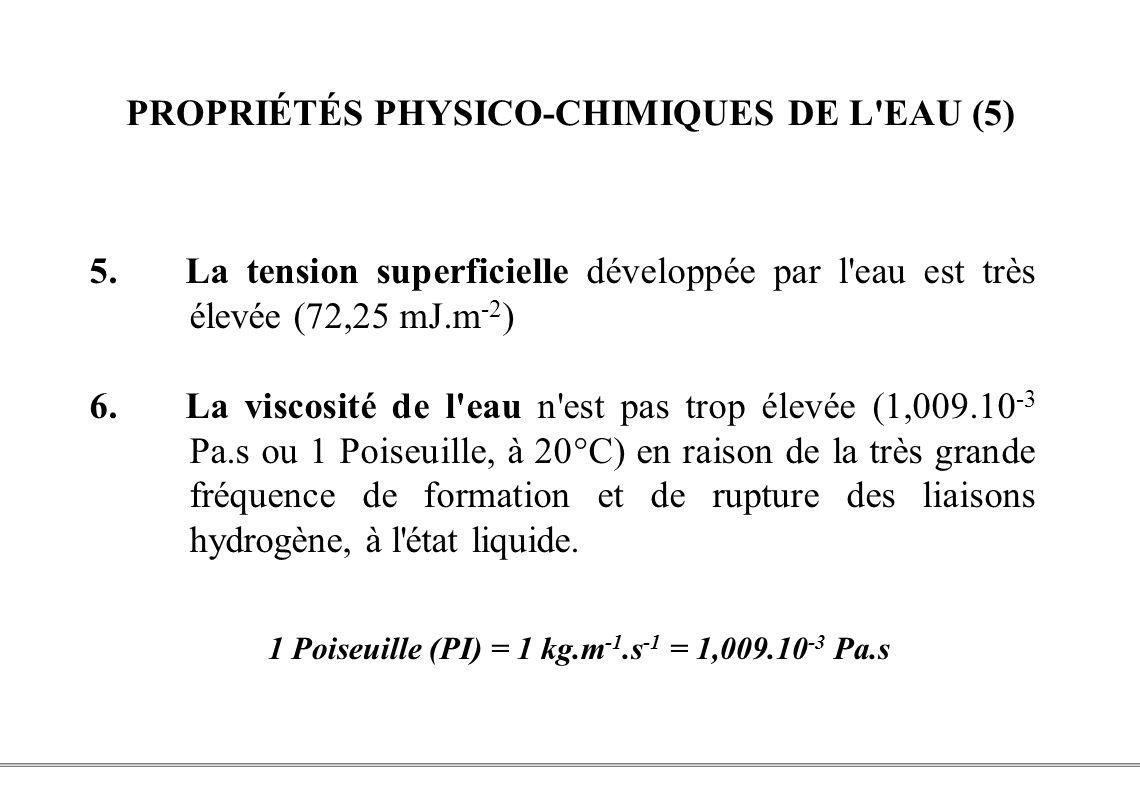 PROPRIÉTÉS PHYSICO-CHIMIQUES DE L EAU (5)
