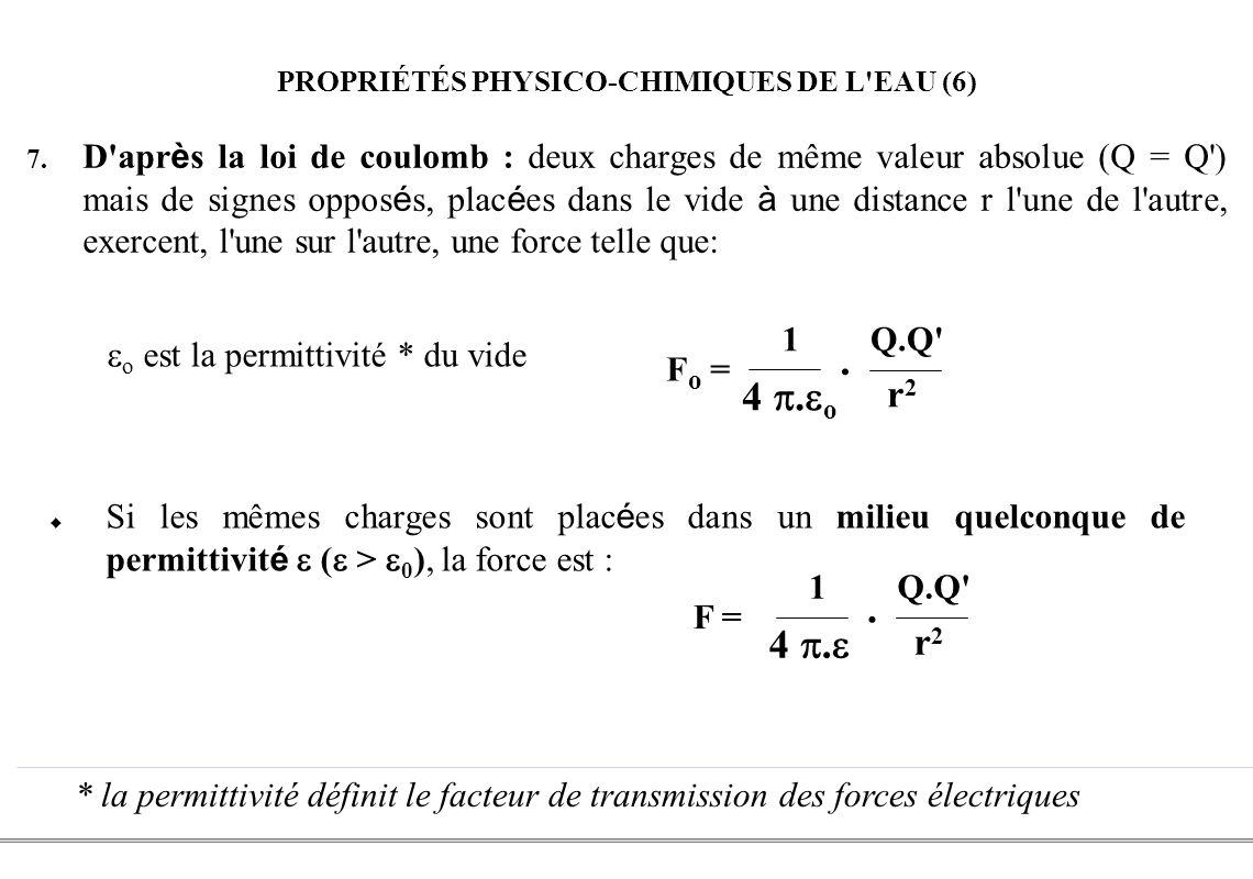 PROPRIÉTÉS PHYSICO-CHIMIQUES DE L EAU (6)