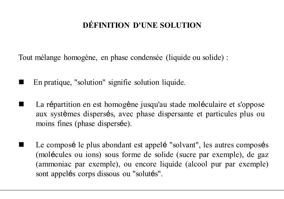 DÉFINITION D UNE SOLUTION