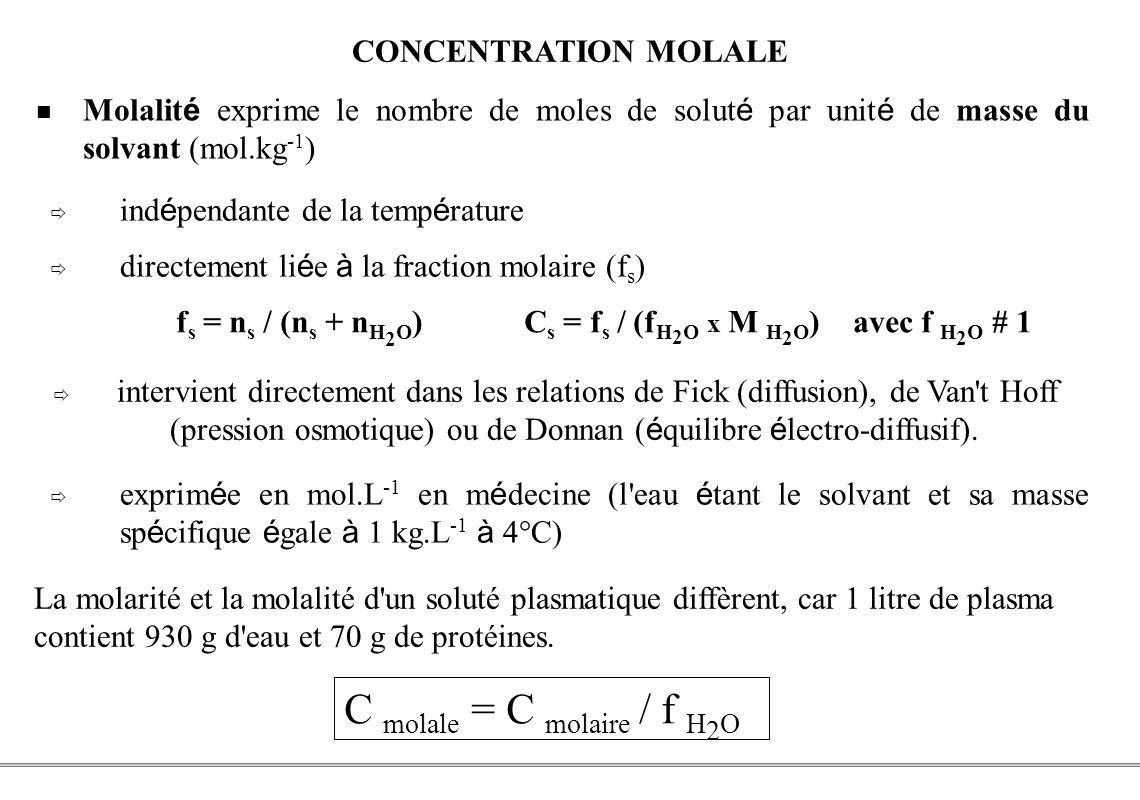 C molale = C molaire / f H2O