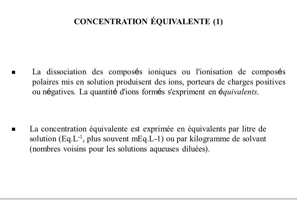 CONCENTRATION ÉQUIVALENTE (1)