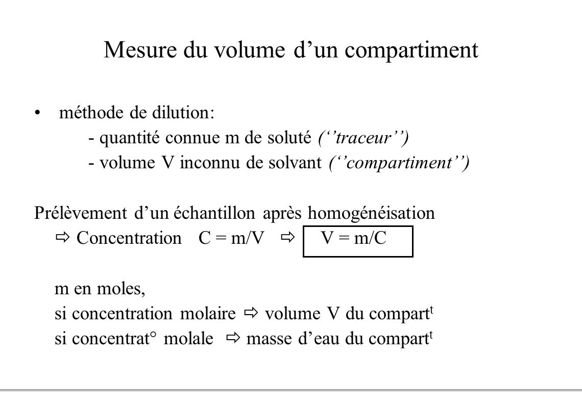 Mesure du volume d'un compartiment
