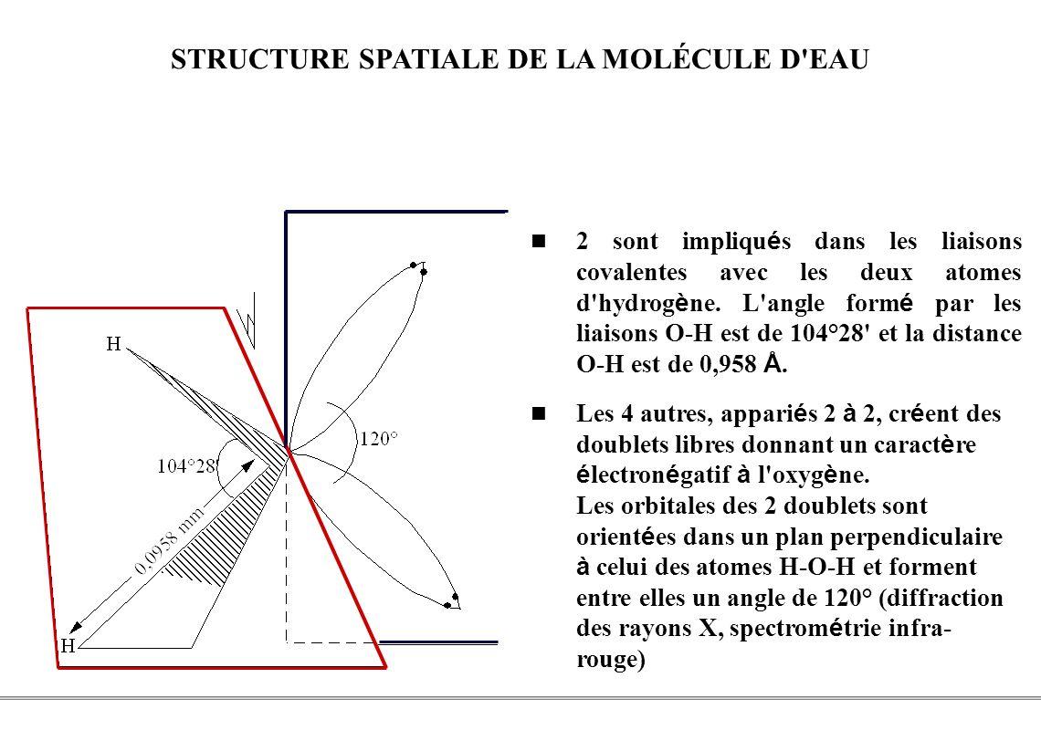 STRUCTURE SPATIALE DE LA MOLÉCULE D EAU