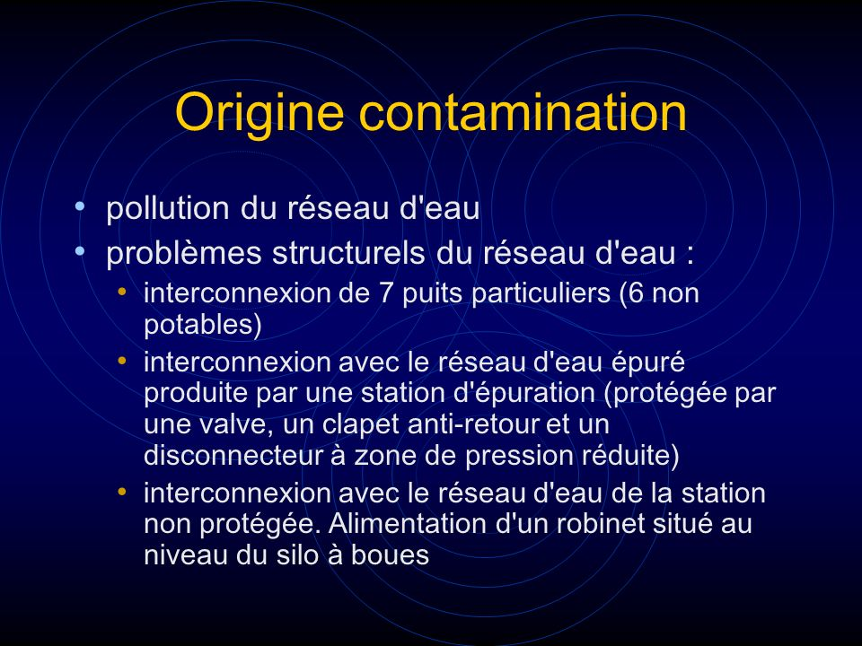 Origine contamination
