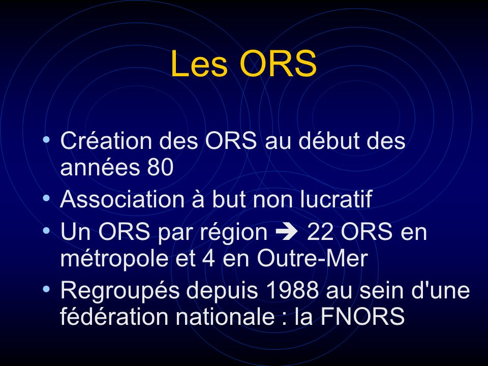 Les ORS Création des ORS au début des années 80
