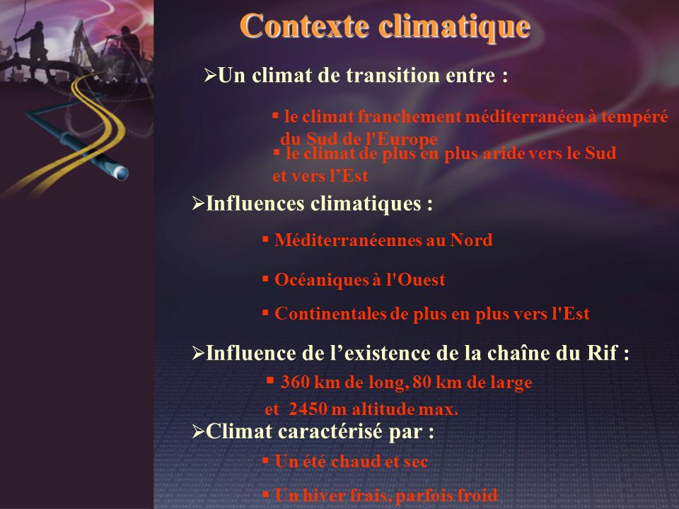 Contexte climatique 360 km de long, 80 km de large