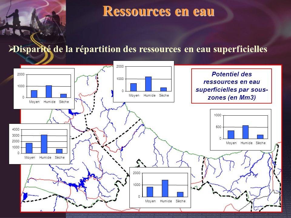 Potentiel des ressources en eau superficielles par sous-zones (en Mm3)