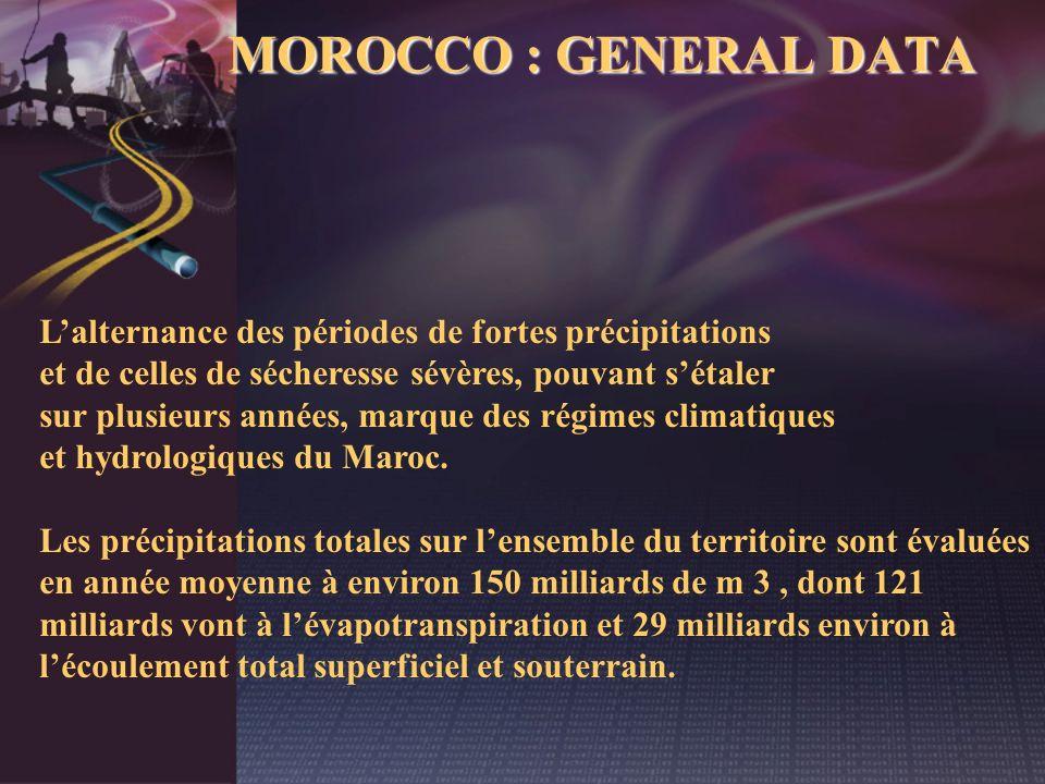 MOROCCO : GENERAL DATA L'alternance des périodes de fortes précipitations. et de celles de sécheresse sévères, pouvant s'étaler.