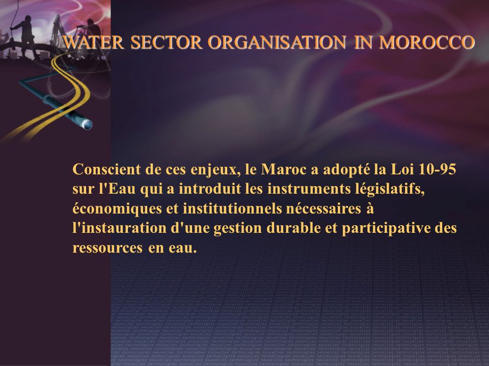 WATER SECTOR ORGANISATION IN MOROCCO