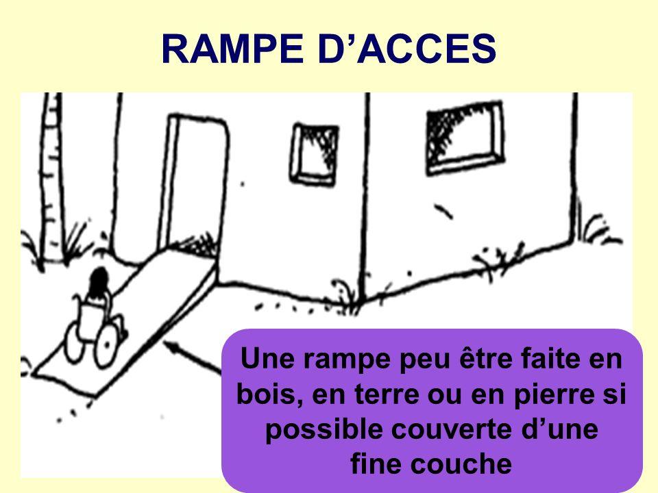 RAMPE D'ACCESUne rampe peu être faite en bois, en terre ou en pierre si possible couverte d'une fine couche.