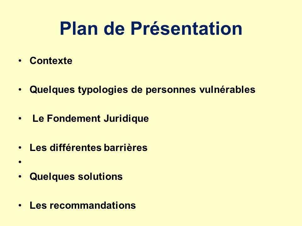 Plan de Présentation Contexte