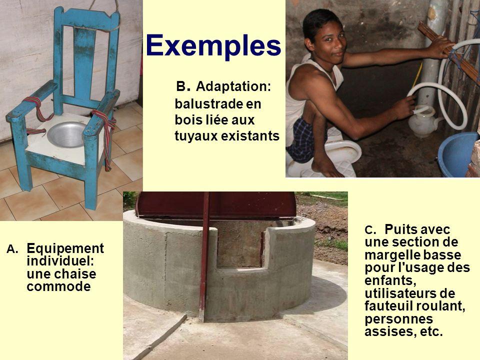 Exemples B. Adaptation: balustrade en bois liée aux tuyaux existants