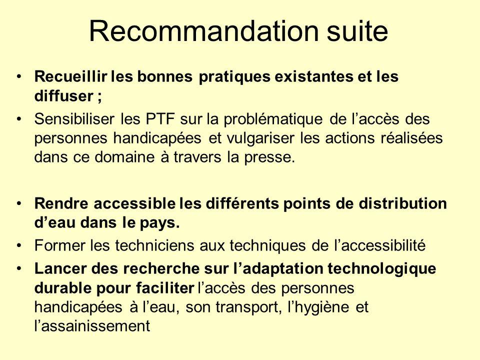 Recommandation suiteRecueillir les bonnes pratiques existantes et les diffuser ;