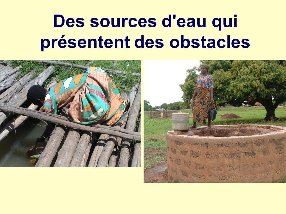 Des sources d eau qui présentent des obstacles