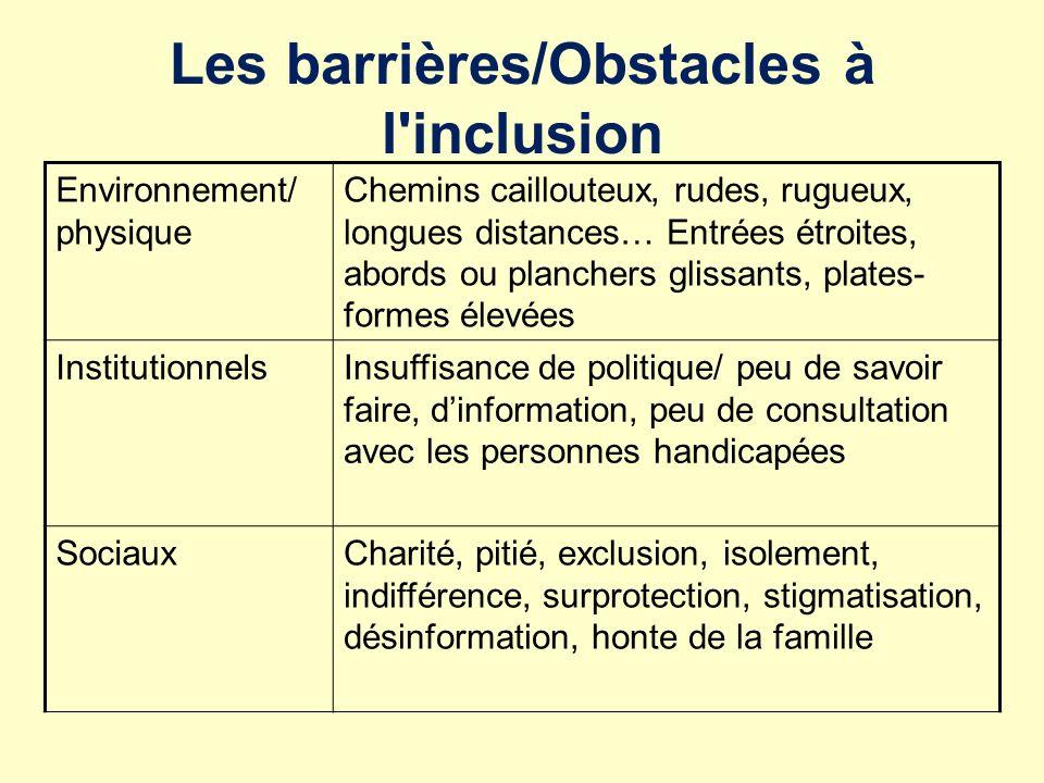Les barrières/Obstacles à l inclusion